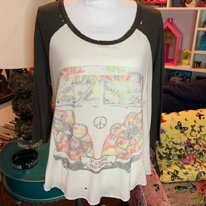 Lauren Moshi Peace Love Bus Boyfriend Tee Sz XS